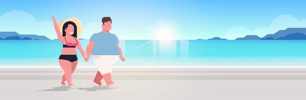 美しい夏の休暇の概念の手を繋いでいる恋に海ビーチ男性女性を歩くカップル