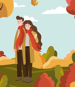 Couple walking with autumn suit in the camp