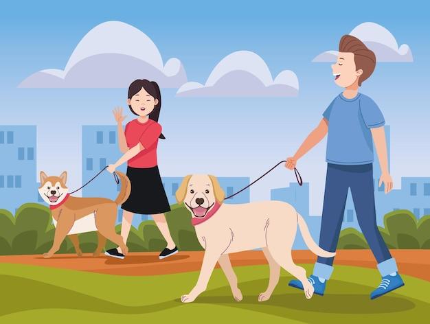 애완 동물과 함께 산책하는 커플