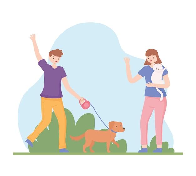 애완 동물과 산책하는 커플