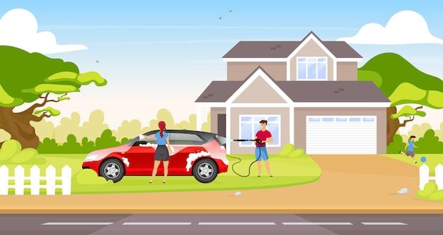 カップル洗浄ハッチバックカラーイラスト。背景の国の家で幸せなカップルと子供の漫画のキャラクター。屋外で一緒に家族の車を掃除する人