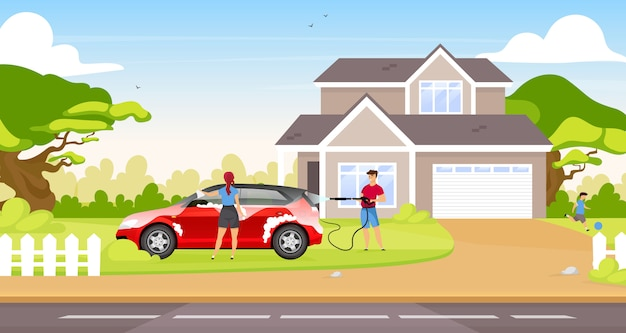 Couple washing hatchback  color  illustration. happy couple and child  cartoon characters with country house on background. people cleaning family car together outdoors