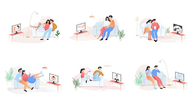 커플은 다양한 tv 쇼를 본다. 앉아있는 사람