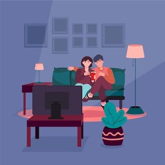 家で一緒に映画を見てカップル