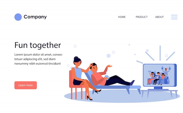 Couple watching football fans on tv. website template or landing page