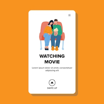 Couple watching movie in cinema together vector. boy and girl sitting on comfortable chairs and watching movie with popcorn. characters people watch film web flat cartoon illustration