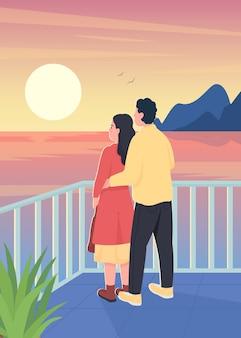 ロマンチックな夕日のフラットカラーイラストを見ているカップル。男は後ろから女を抱きしめます。デート、一緒に時間を過ごす。背景に風景とボーイフレンドとガールフレンドの漫画のキャラクター
