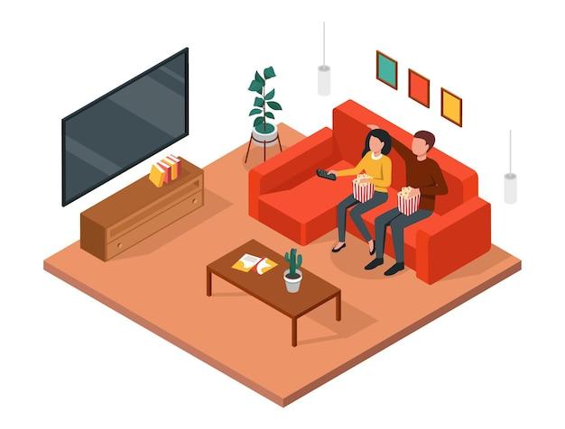 テレビを見ているカップル男性と女性が一緒にソファに座ってリビングルームで映画を楽しんでいます3dアイソメトリック