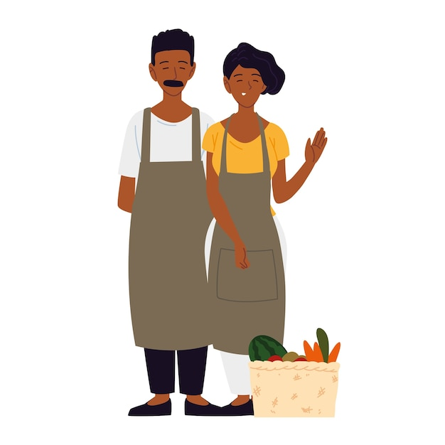 Couple wearing apron with basket filled fruit and vegetable illustration