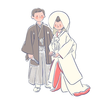 Couple wearing japanese wedding clothes