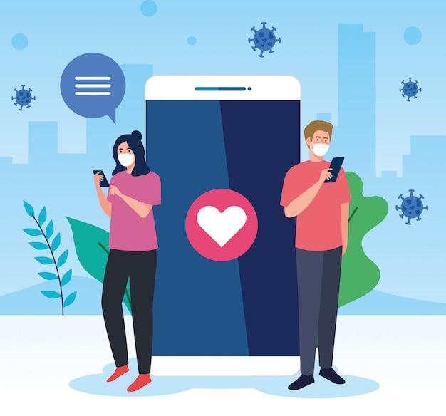 Couple wearing medical mask communicating by smartphones, , social media coronavirus concept