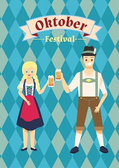 The couple wearing oktoberfest costume