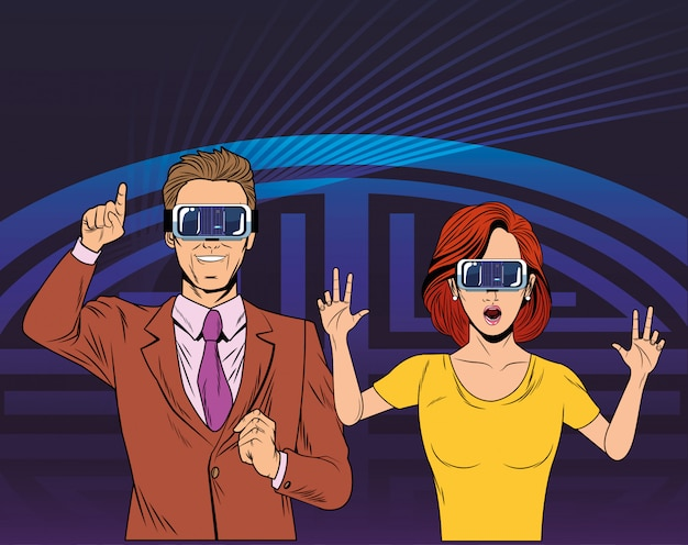 Couple wearing virtual reality headset