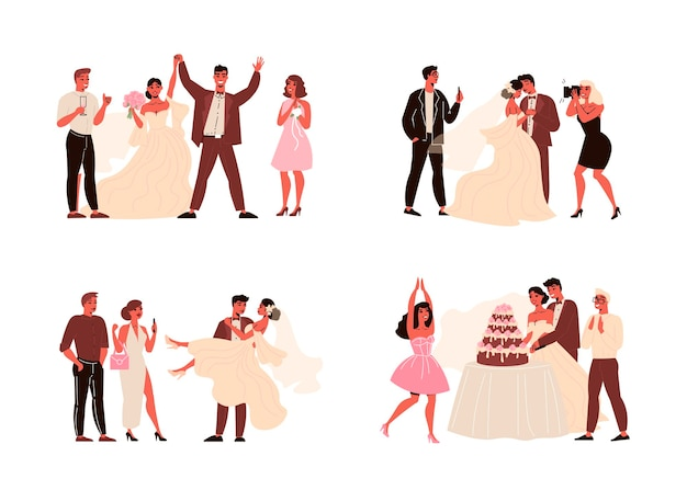 Couple wedding ceremonies set of isolated compositions with bride groom and their guests with cakes gifts