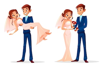 Couple wedding illustration of man and woman just married for greeting card template.