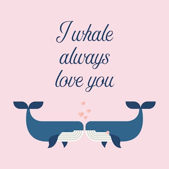 Couple whales in love poster