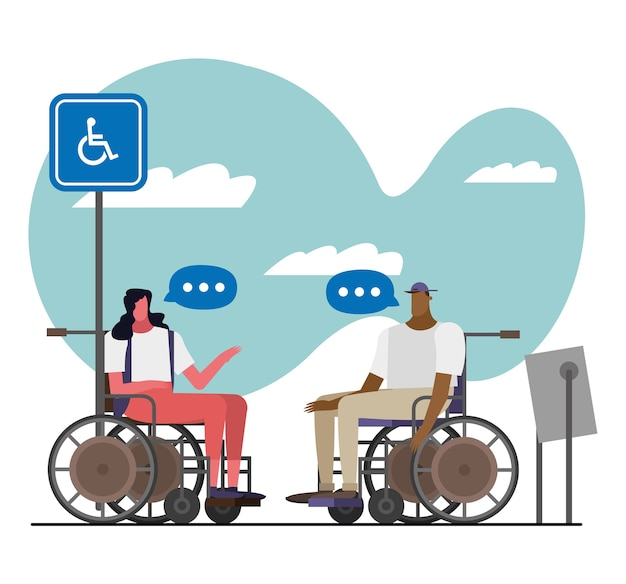 Couple in wheelchairs disable characters illustration design