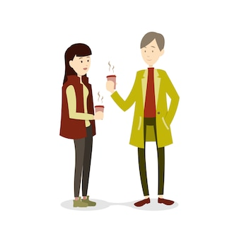 Couple in winter season drinking hot  beverage