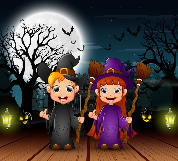 Couple witch celebration halloween day in the night