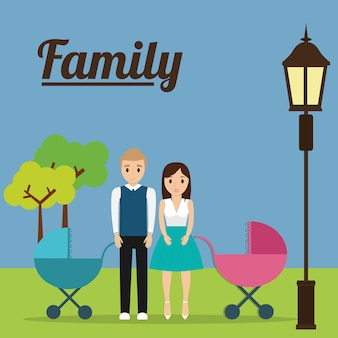 Couple with baby carriage family concept