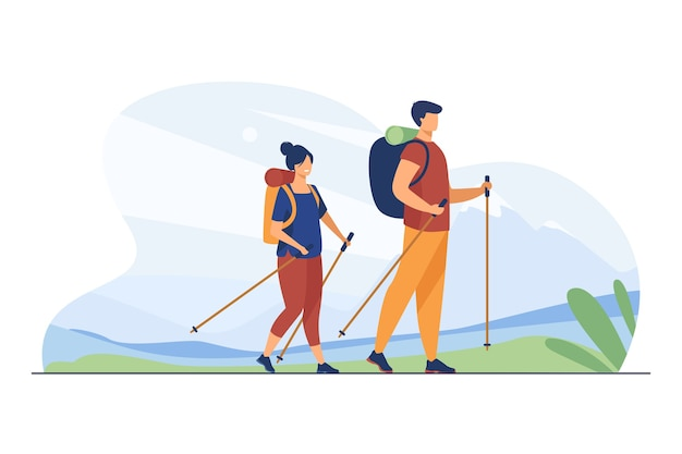 Couple with backpacks walking outdoors. tourists with nordic poles hiking in mountains flat vector illustration. vacation, travel, trekking concept
