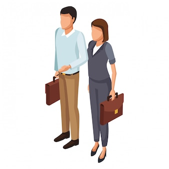Couple with briefcases