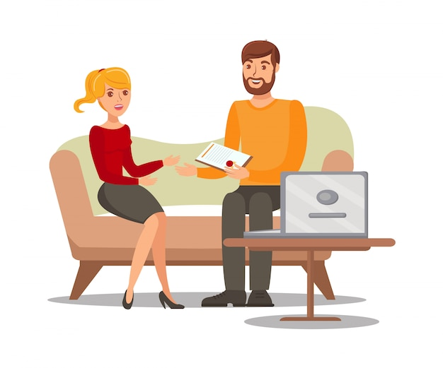 Couple with document flat vector illustration