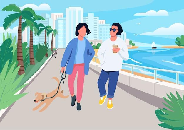 Пара с собакой, идущей вдоль набережной плоской цветной иллюстрации. летний отдых в тропическом курортном городке.
