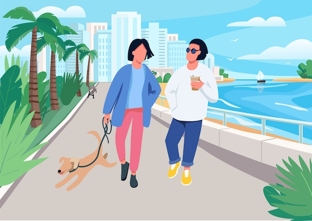 Couple with dog walking along seafront flat color illustration. summer recreation in tropical resort town.