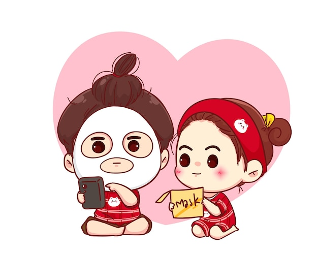 Couple with facial mask, beauty treatment, cartoon character illustration