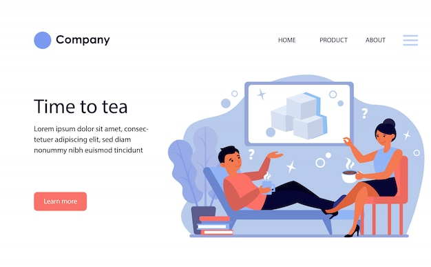 Couple with hot drinks discussing sugar. website template or landing page