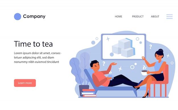 Пара с горячими напитками обсуждает сахар. шаблон веб-сайта или целевая страница