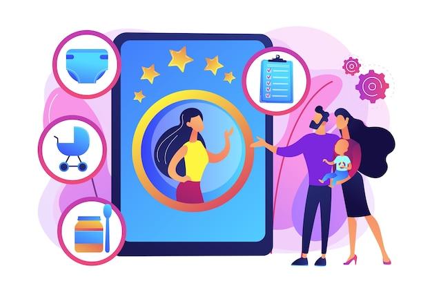 乳幼児とのカップル、プロのベビーシッターを選ぶ両親。ベビーシッターサービス、個人的な育児サービスは、信頼できるシッターのコンセプトを採用しています。明るく鮮やかな紫の孤立したイラスト