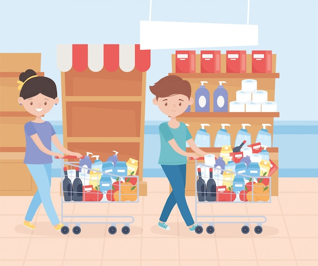 Couple with market carts shelves and cleaning products excess purchase