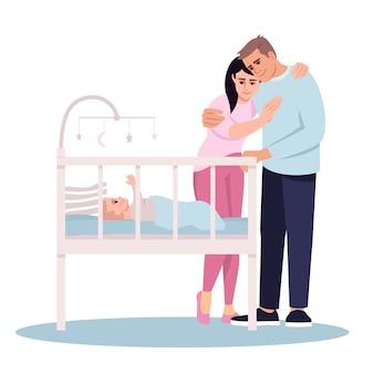 Couple with newborn child semi flat illustration