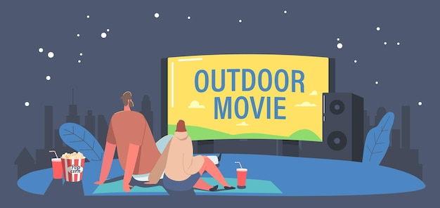 Couple with pop corn and soda drink in open air cinema at backyard. characters spend night at outdoor movie theater watching film on big screen with sound system. cartoon people vector illustration