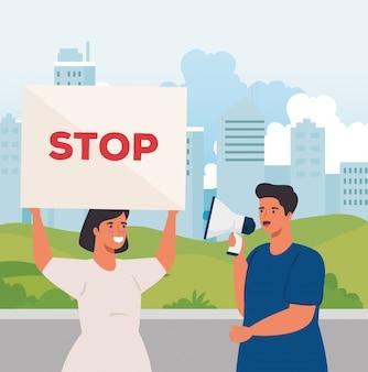 都市景観における抗議プラカードとカップルします。