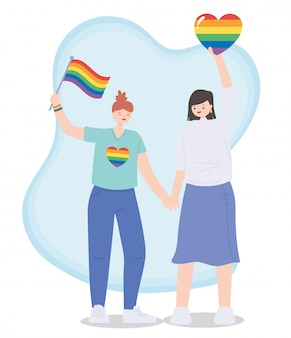 Couple with rainbow flag and hearts