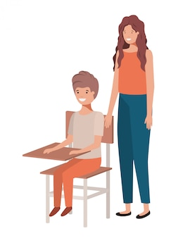 Couple with school desk avatar character