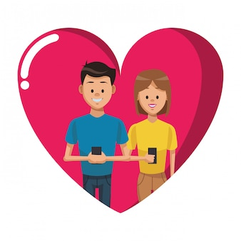 Couple with smartphones