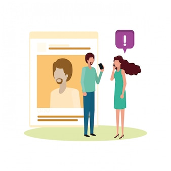 Couple with social network profile avatar character