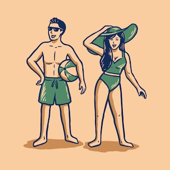 Couple with summer outfit illustrated