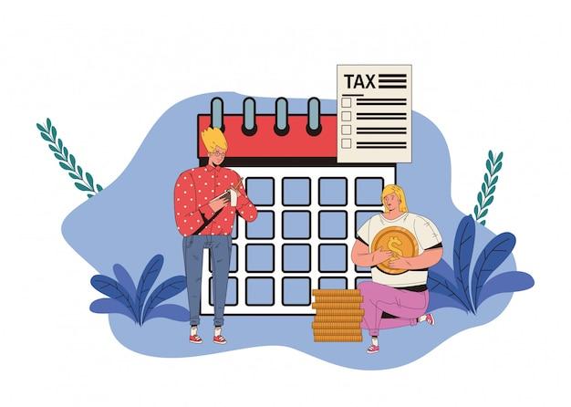 Пара с дизайном иллюстрации оплаты дня налога
