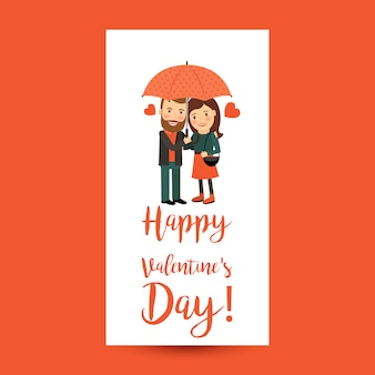 Couple with umbrella valentines day flyer