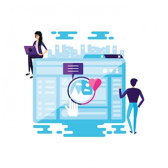 Couple with web page and social media icons