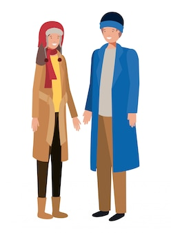 Couple with winter clothes avatar character