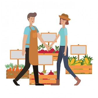 Couple with wooden basket avatar character