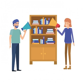 Couple with wooden shelving on white icon