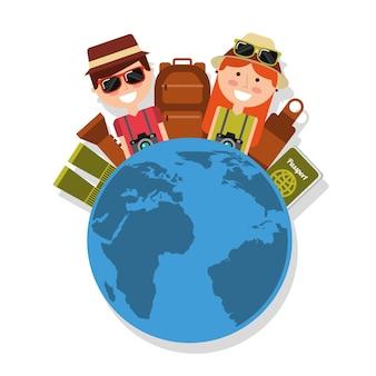 Couple with world travel vacations baggage passport binoculars