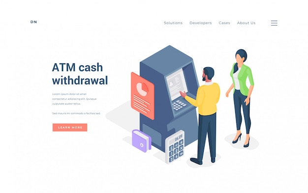 Couple withdrawing cash from atm isometric  illustration.